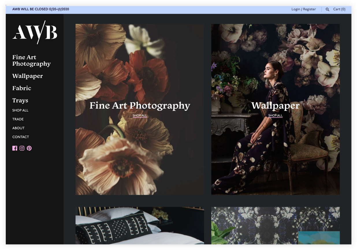AWB homepage with view of wallpaper + prints sections