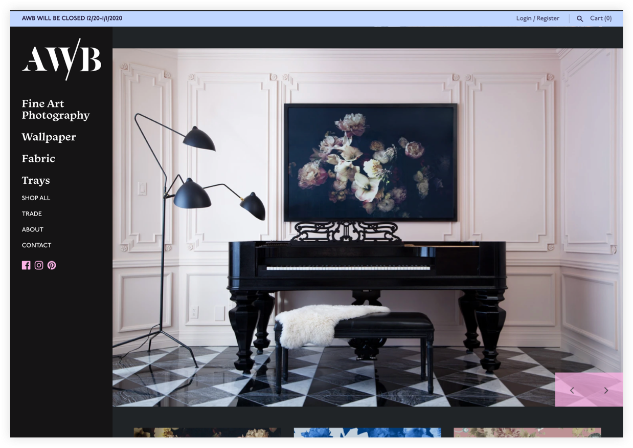 AWB homepage view of print above piano