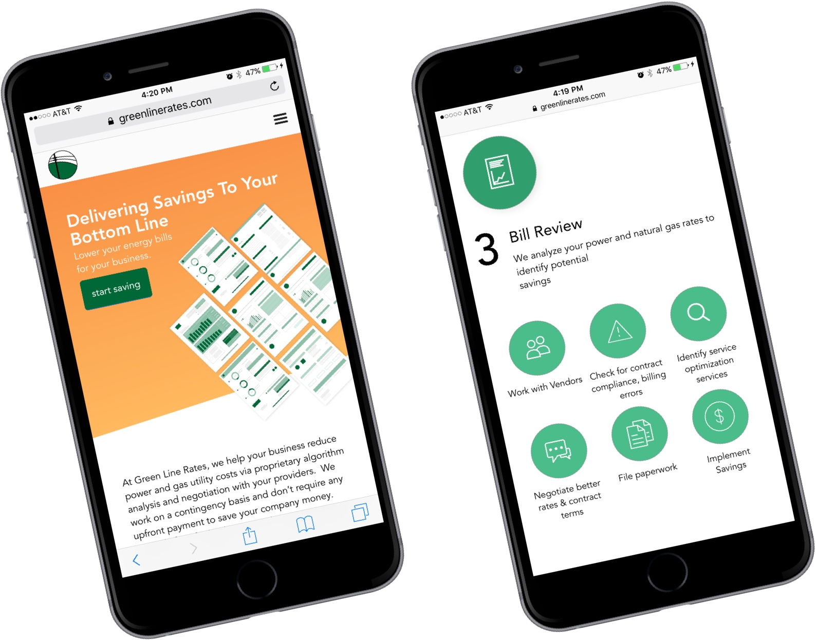 Greenline Rates mobile view