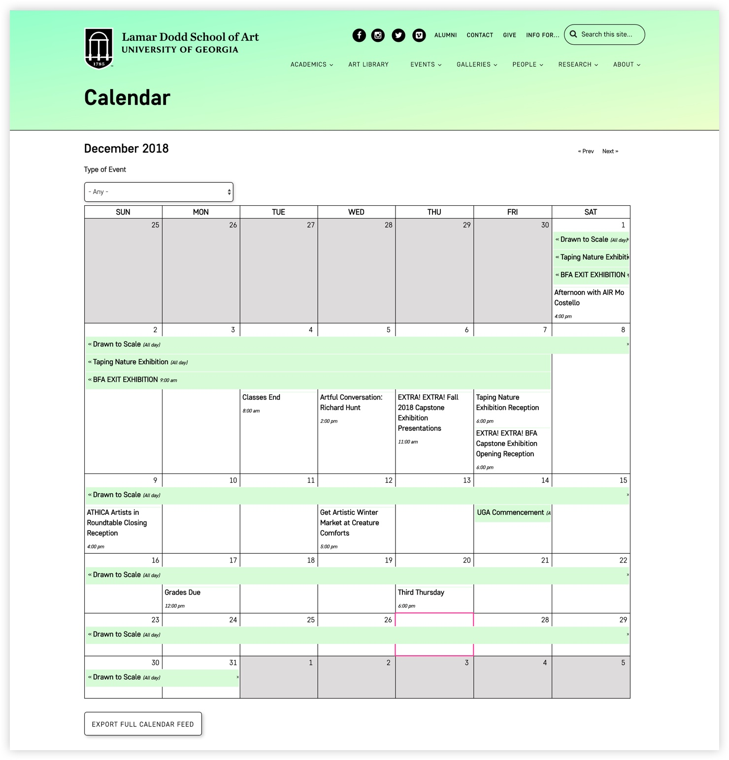 Lamar Dodd School of Art Calendar