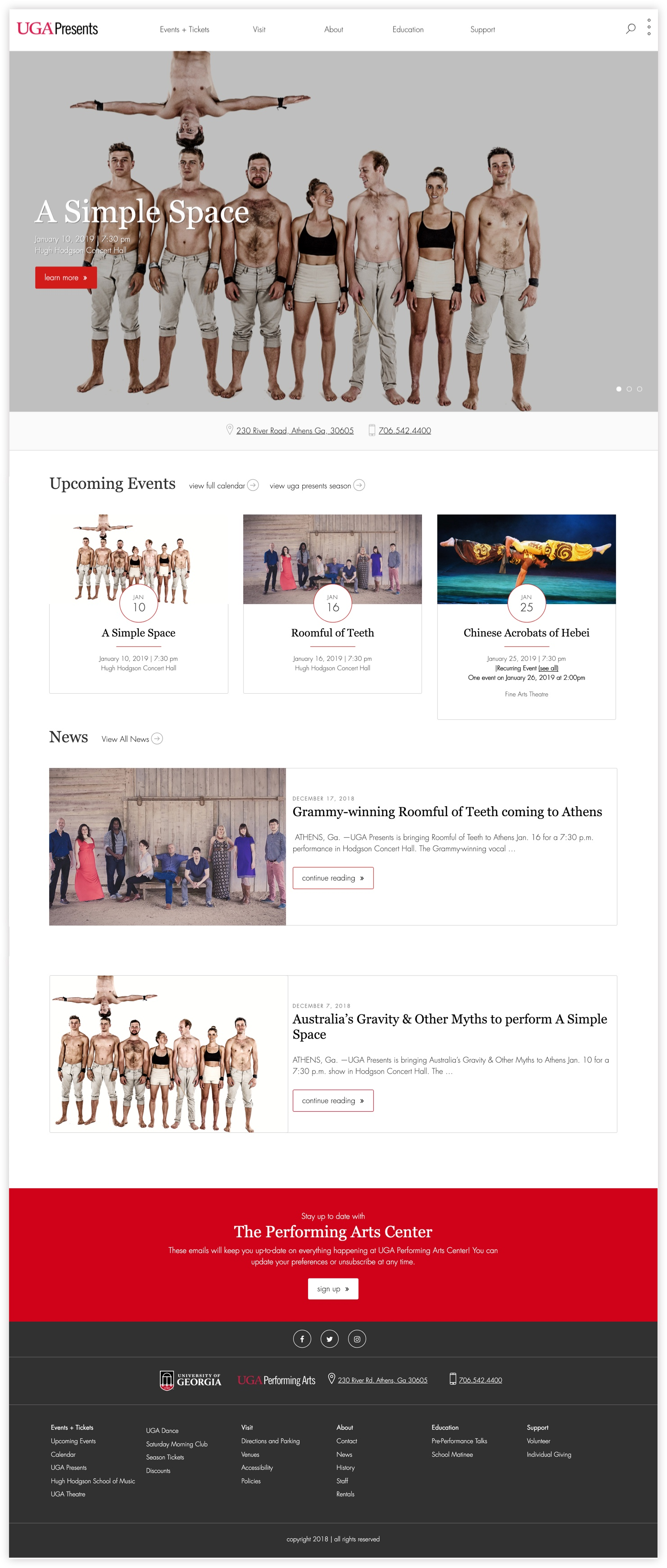 UGA Performing Arts Center home page