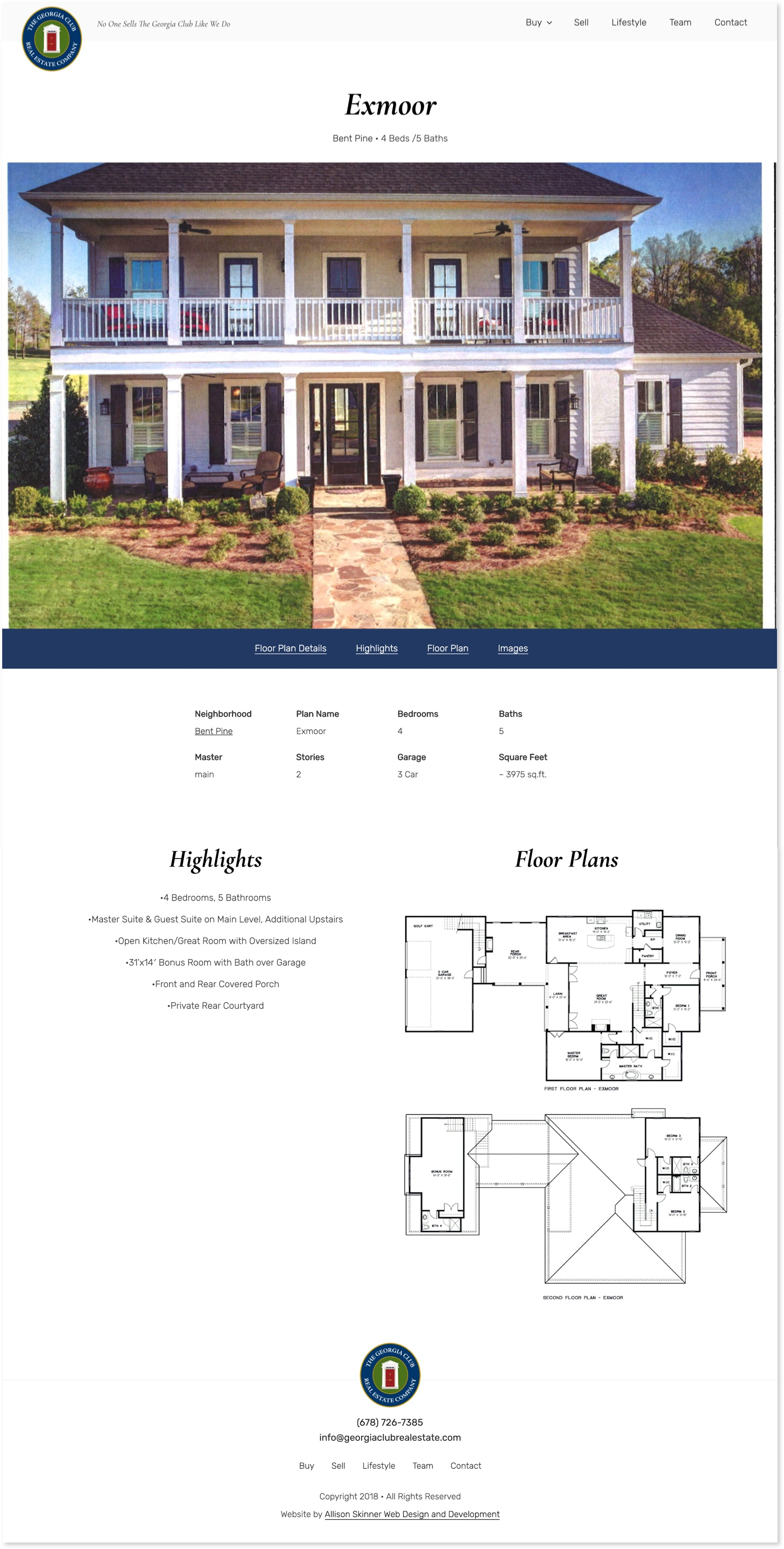The Georgia Club Real Estate Company Floor Plans single page