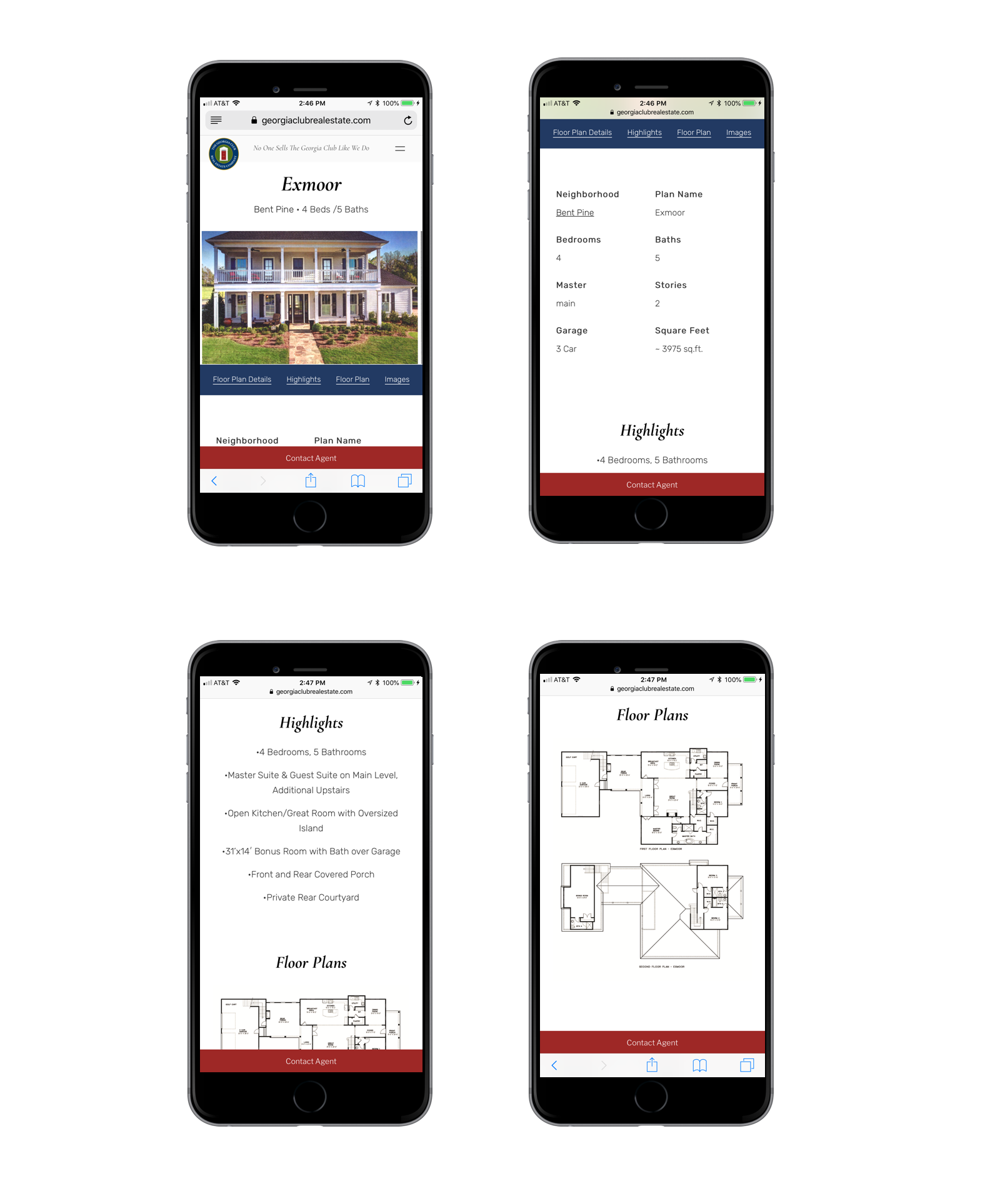 The Georgia Club Real Estate Company Floor Plans single page mobile view