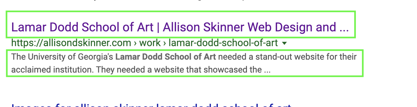 screenshot of how my meta information, site title and description, show up in google search result