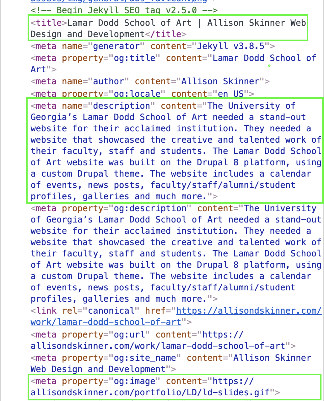 screenshot of meta information in the html head of my website. Includes site title and description